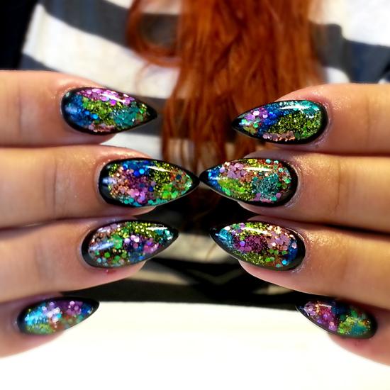 Nail Art How To Nail Designs Nail Tutorial Black Glitter Nails