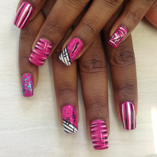 Nail Art How To: Hot Pink Musical Note and Animal Print Nails
