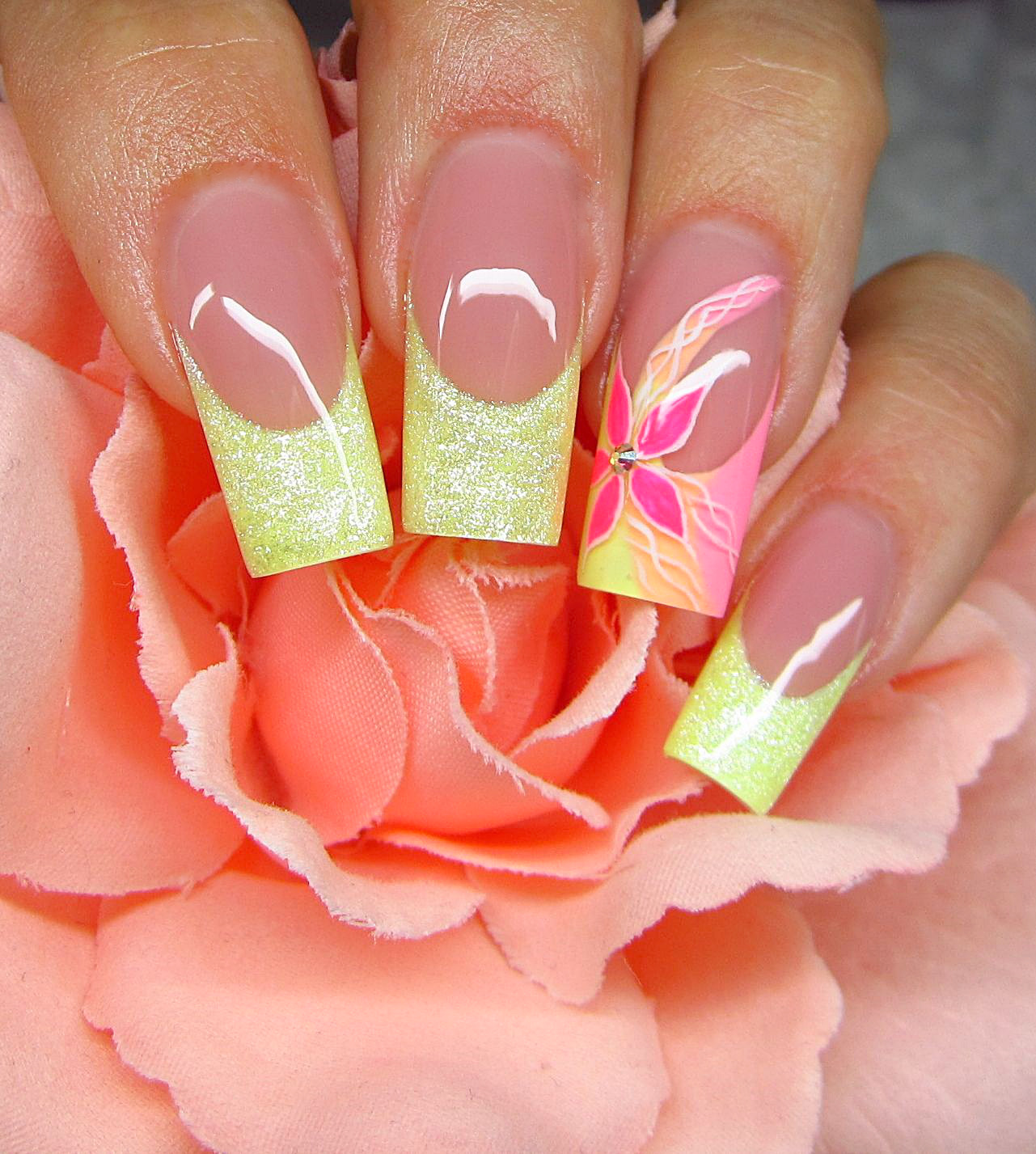 Nail Art Tutorial: Pink And Yellow Flower French