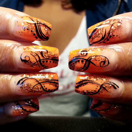 Nail Art How To: Orange and Black Light Elegance Nails