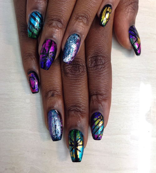 Nail Art How To: Foil Collage Nails
