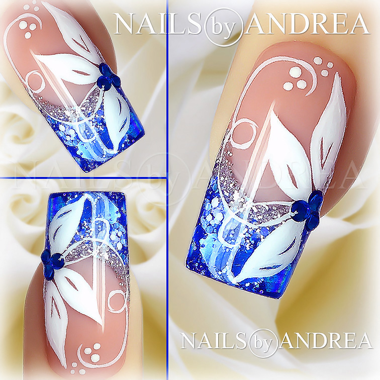 nail art tutorial blue and white flowers - Nails Muster
