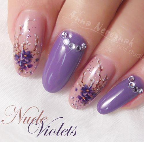 Nail Art How To: Nude Violet Nails
