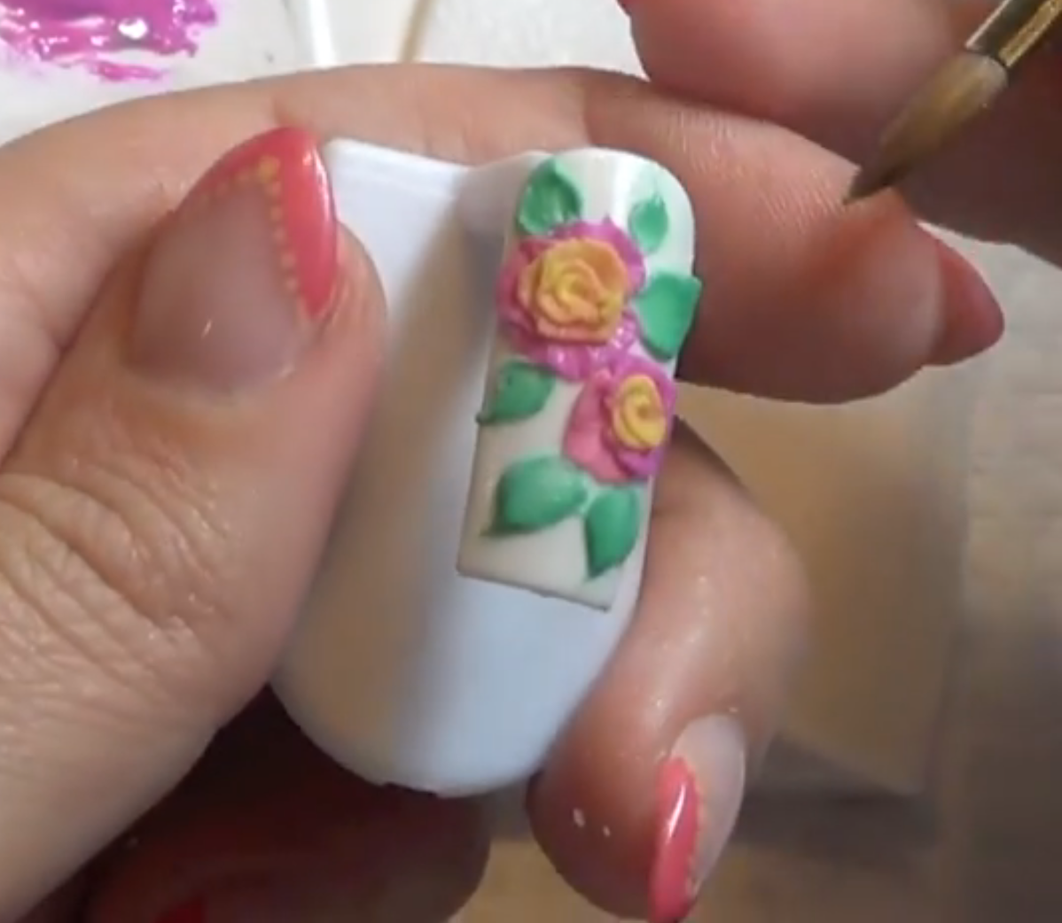 Nail Art Tutorial: Two-Tone Sculpted Gel Roses