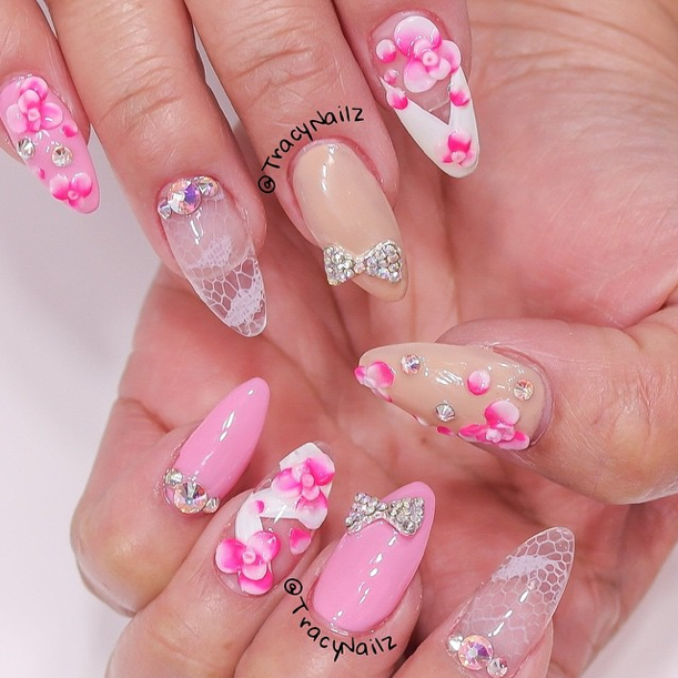 Nail Art Video Tutorial: Ombre Flowers and Lace Acrylic Nails