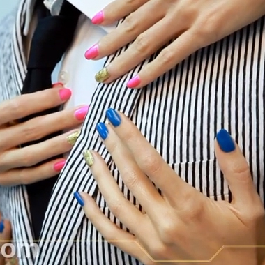 Nail Art How To: Summer Brights with Gold Highlights (Aug 2013) Behind the Nail Pros