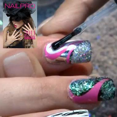 Nail Art Video: Minx Polish, Glitter & Crackle Nail Polish (Dec. 2011): Behind the Nail Pros