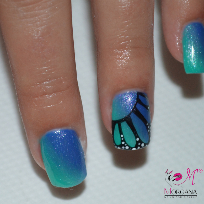 Nail Art Tutorial: Blue Monarch Butterfly Nails
