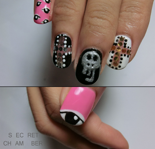 Nail Art How To: Black and Pink Chic Halloween Nails