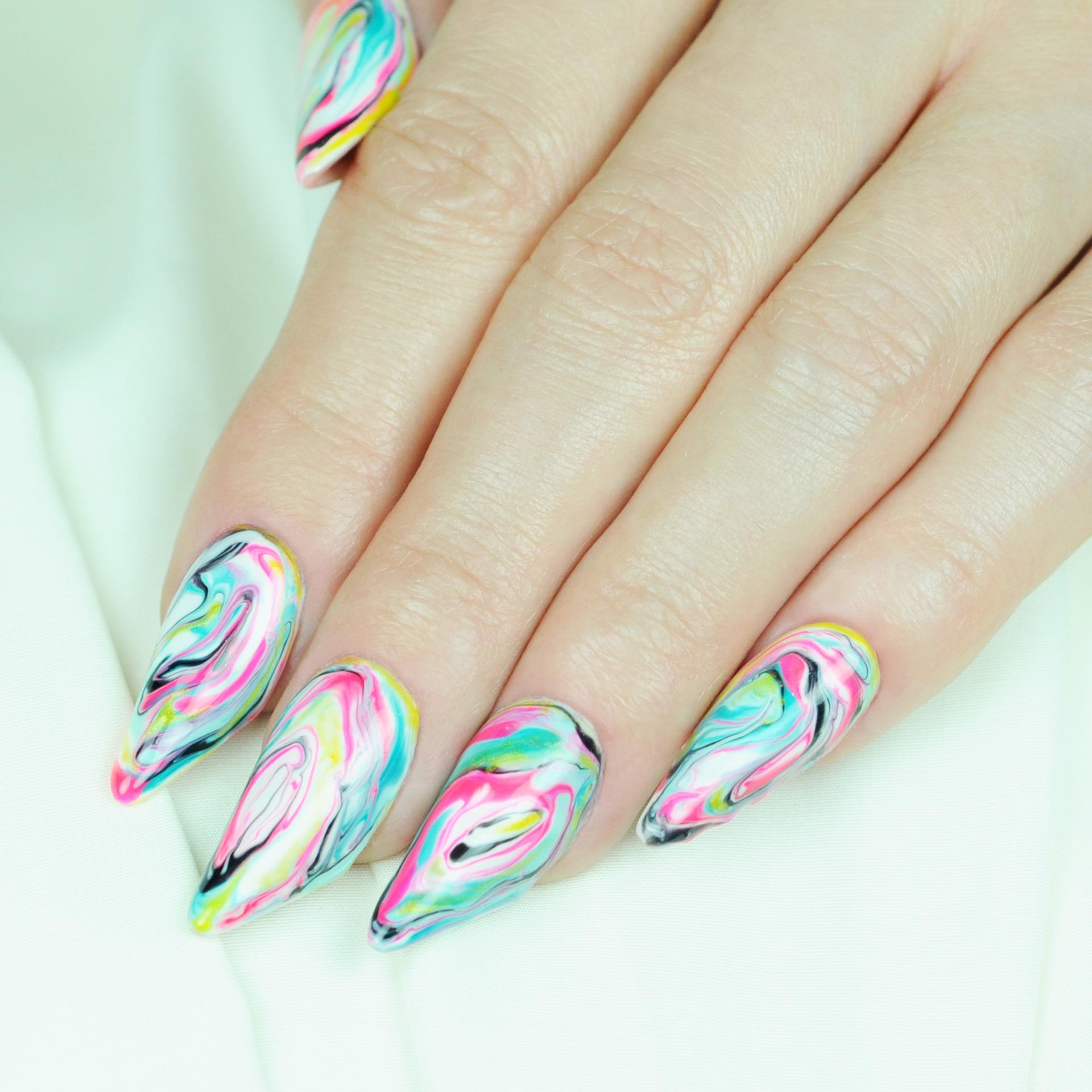 Nail Art Tutorial Spring Marbled Nails