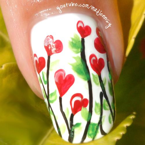 Nail Art Tutorial: Heart Garden Valentine