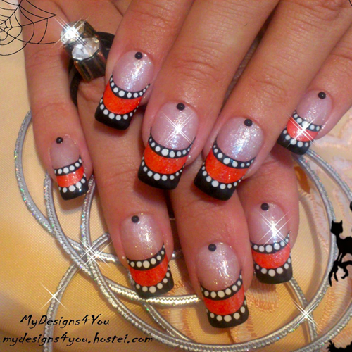 Nail Art How To: Striped Halloween French Nails
