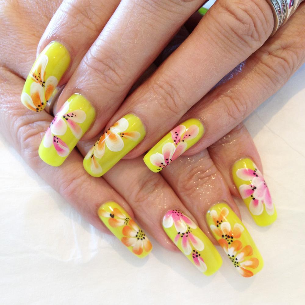 Nail Art Tutorial: Neon One Stroke Flowers