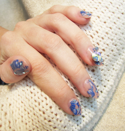 Nail Art Tutorial: Blue Bling and Foil