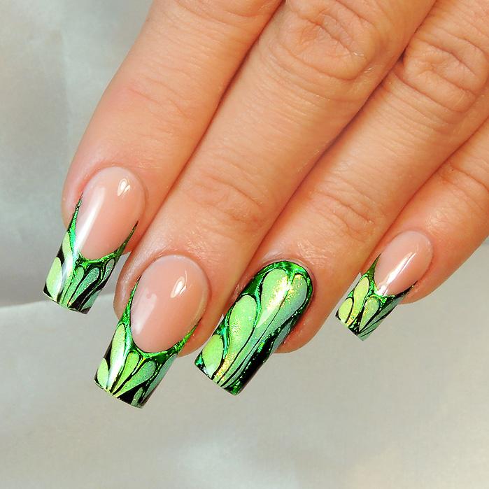 Nail Art Tutorial: Green Abstract Design