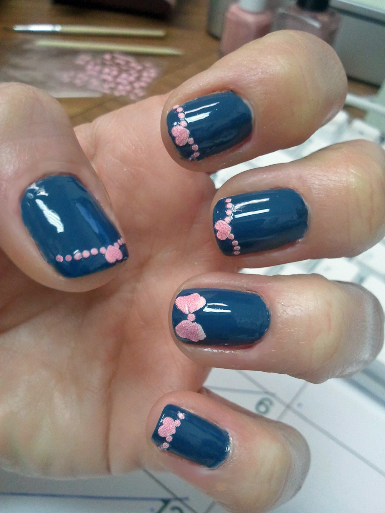 Pink Bows Manicure