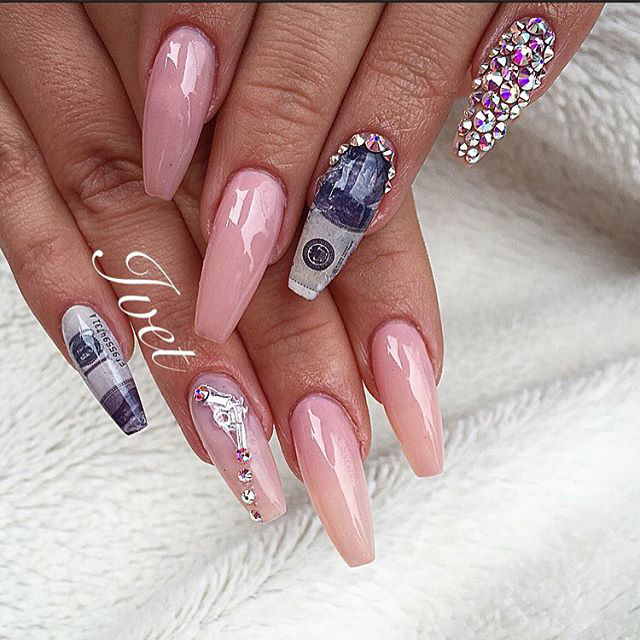 Matte Rose Gold Kylie Jenner Coffin Nails - different nail designs