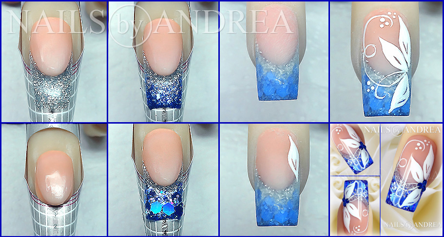 Gel nails with glitter tutorial best nails 2018 nail art tutorial blue and white flowers prinsesfo Image collections