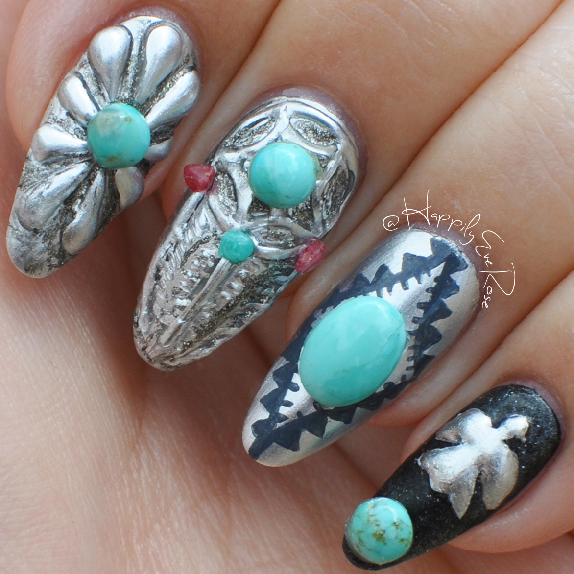 Nail Art Tutorial: Turquoise Jewelry