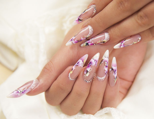 Orchid Nail Art by Anita Podoba | Nail Pro Magazine June 2016 Readers Nail Art Submissions, check it out at http://www.nailpro.com/nail-pro-62016-nail-art