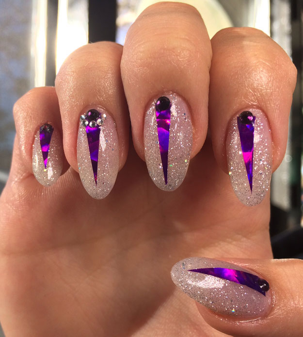 Prince Inspired Purple Nail Design by Lindsay Shannon | Nail Pro Magazine June 2016 Readers Nail Art Submissions, check it out at http://www.nailpro.com/nail-pro-62016-nail-art