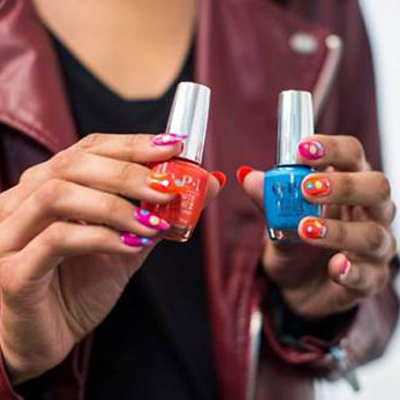 Get the Look: Miss Pop OPI for Moschino Resort 2017, check it out at http://www.nailpro.com/opi-moschino-resort-2016-nail-art