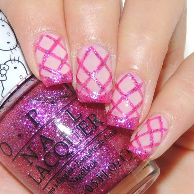 Nail Art Tutorial: Pink Glitter Criss Cross Nails, check it out at http://www.nailpro.com/pink-glitter-nail-art-tutorial