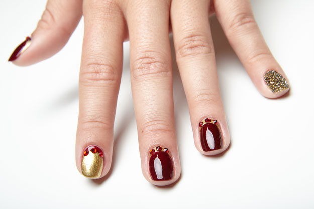 Nail Art Tutorial Royal Red And Gold With Swarovski Crystals