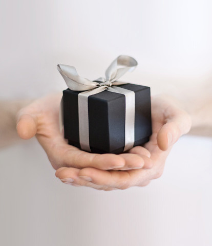 Gift wrapped in black paper