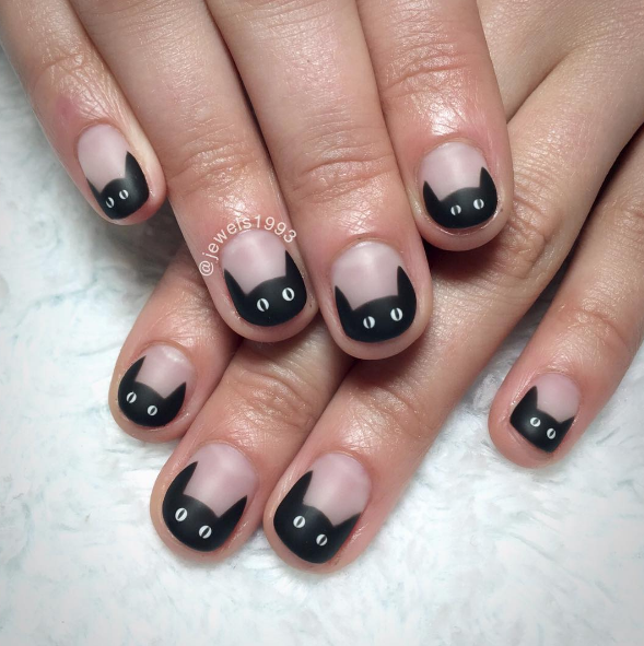13 Nail Art Ideas for Black Cat Day