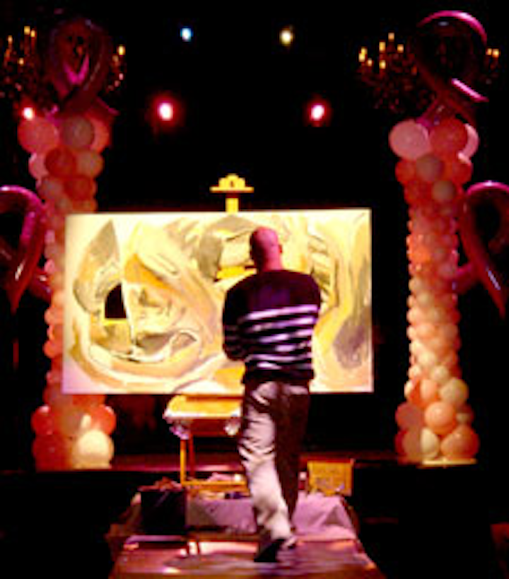 The third annual Shades of Pink fund-raiser featured live painting by local artist Kiki Valdez.