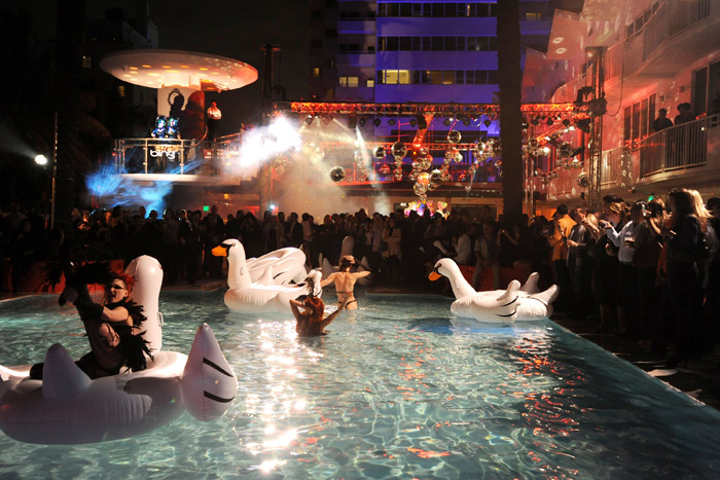 Performers and inflatable swans entertained guests at a Bing-sponsored party at the Shelborne South Beach during last year's Art Basel.