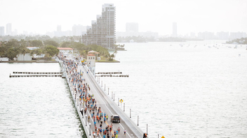 #5 Sports Event The Miami Marathon, now featuring title sponsor Fitbit, celebrated its 16th incarnation in January 2018. The popular fitness tracker and technology company signed a three-year deal with the event, marking the first time the races have had a title sponsor. Participants accessed a new app that synced their Fitbit devices to analytics during the race. More than 20,000 runners were at the start line, with more than half of them living outside Miami-Dade County. Participants represented all 50 states along with 80 countries. Next: January 27, 2019