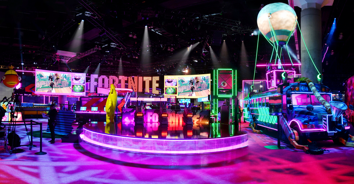 Epic Games' 15,000-square-foot E3 2019 booth was inspired by the latest season of Fortnite, using miles of neon lighting that covered everything from shopping carts to the famous Fortnite bus.
