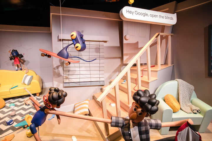 Google's 36,000-square-foot booth at C.E.S. 2019 was a three-minute musical coaster, powered by Google Assistant, that took attendees through a house with an animatronic family. At the end, riders were given a picture, a branded macaron, and a free Google Home Hub redemption code.