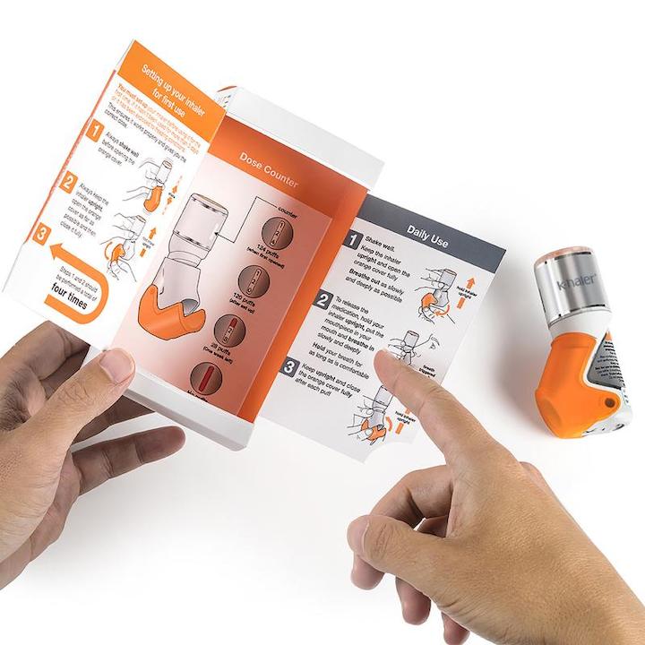 El dispositivo k-haler® de Mundipharma utiliza una válvula de dosificación patentada y una caja tipo-libro.